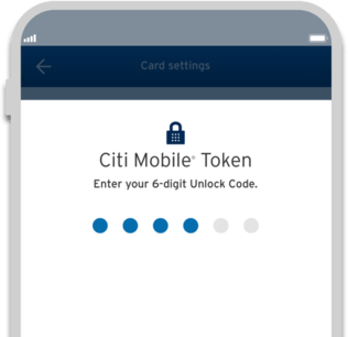 Smartphone displaying Citi Simplicity card secure transaction with Citi Mobile Token