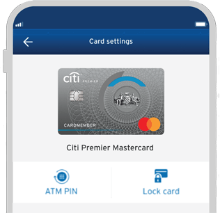 Smartphone displaying the  locking of Citi Premier credit card with Citi Mobile App
