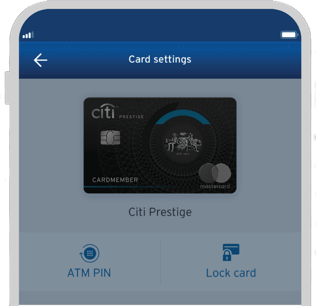 Smartphone displaying the locking of Citi Prestige credit card with Citi Mobile App