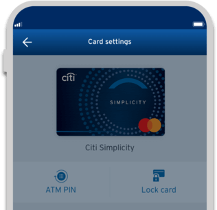 Smartphone displaying the locking of Citi Simplicity credit card with Citi Mobile App