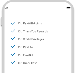 Smartphone displaying the  powerful on-demand features of Citi Mobile App