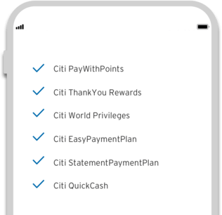 Smartphone displaying the the powerful on-demand features of Citi Mobile App