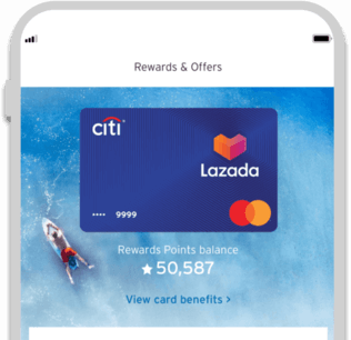 Smartphone displaying the facility to track Citi Lazada credit card rewards with Citi Mobile App