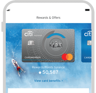 Smartphone displaying the facility to track Citi Premier credit card rewards with Citi Mobile App
