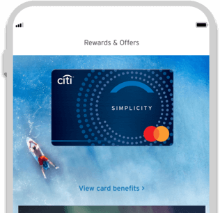 Smartphone displaying the facility to track Citi Simplicity credit card rewards with Citi Mobile App