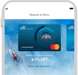 Smartphone displaying the facility to track Citi Rewards credit card reward points with Citi Mobile App