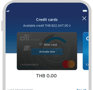 Smartphone displaying activation of Citi Premier credit card on Citi Mobile App