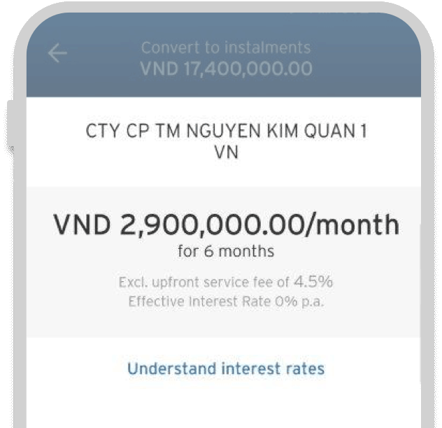 Convert your transaction to easy installment
