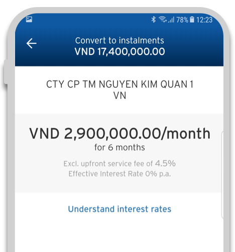 Convert your transaction to easy installments